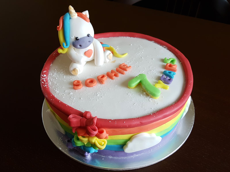 Unicorn Belgian chocolate cake with French chocolate mousse.