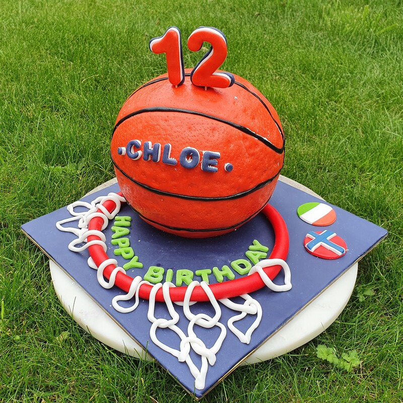 Basketball chocolate cake filled with chocolate and caramel cream