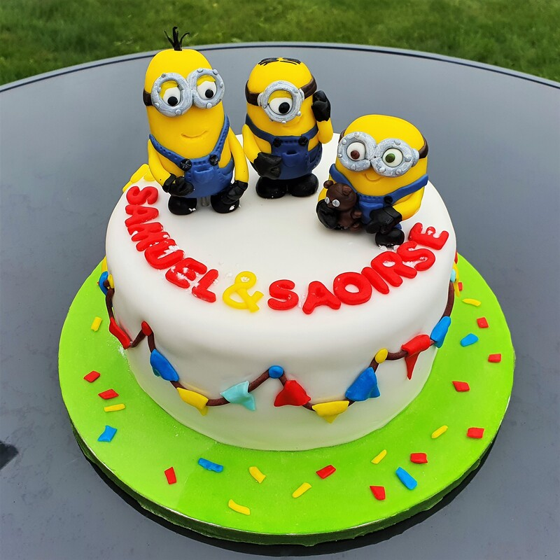 Minions Belgian chocolate cake with salted caramel cream