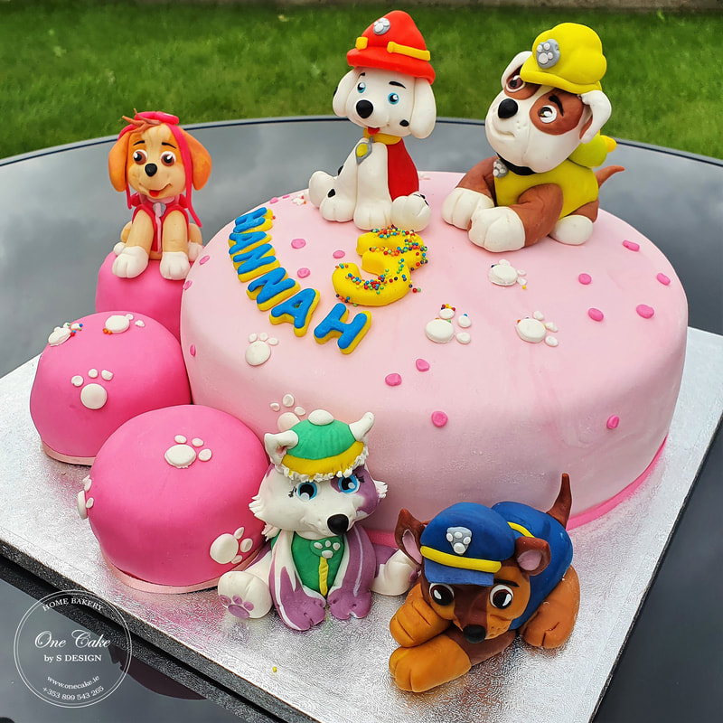 Paw Patrol vegan chocolate and vanilla cake with raspberry filling